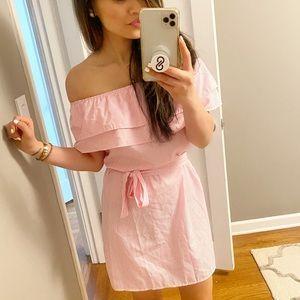 Pink Stripe Off the Shoulder Dress